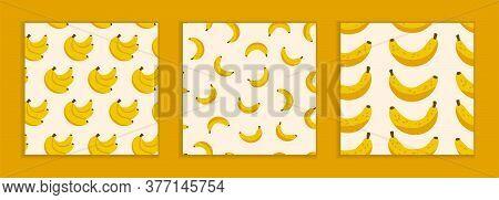 Beautiful Modern Patterns. Three Drawn Patterns In Flat Style. Summer Cheerful Cute Banner. Yellow B