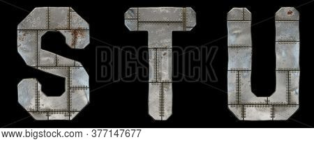 Set of capital letters S, T, U made of industrial metal isolated on black background. 3d rendering
