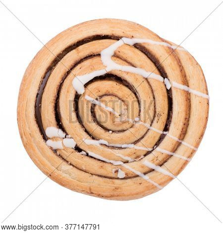 Freshly baked cinnamon bun roll isolated on white background