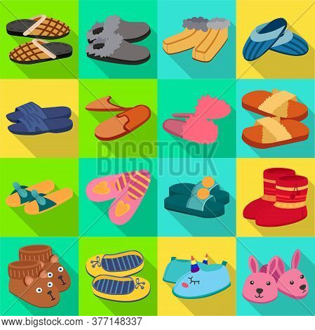 House Slipper Flat Vector Set Icon. Isolated Flat Icon Slipper And Shoes.vector Illustration Summer