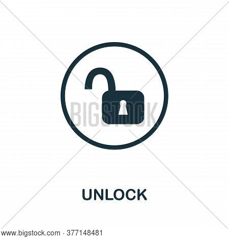 Unlock Icon. Simple Element From Internet Security Collection. Creative Unlock Icon For Web Design,