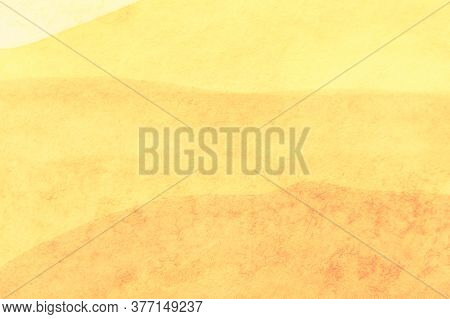 Abstract Art Background Light Yellow And Golden Colors. Watercolor Painting On Canvas With Soft Oche