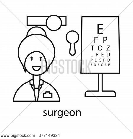 Vector Illustration Of Ophthalmologist And Woman Symbol. Set Of Ophthalmologist And Procedure Vector