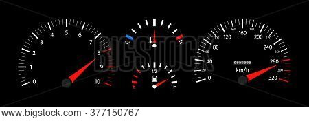 Car Speedometer, Dashboard, Tachometer And Temperature Gauge. Vehicle With Digital Display. Scale Of