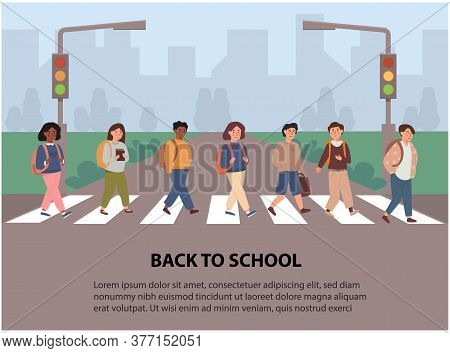 Children Crossing Street Along Crosswalk. Kids Going Back To School Concept. School Pupil Walking Ac