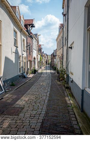 Beautiful Narrow Streets In The Center Of The Hanseatic City Of Zutphen With Beautiful Colored House