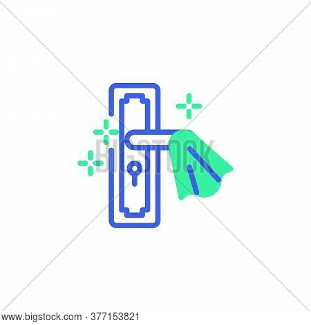 Clean Door Handle Icon Vector, Disinfect Door Handle Filled Flat Sign, Bicolor Pictogram, Green And