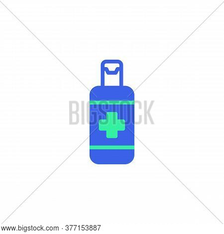 Hand Sanitizer Bottle Icon Vector, Filled Flat Sign, Antiseptic Gel Bicolor Pictogram, Green And Blu