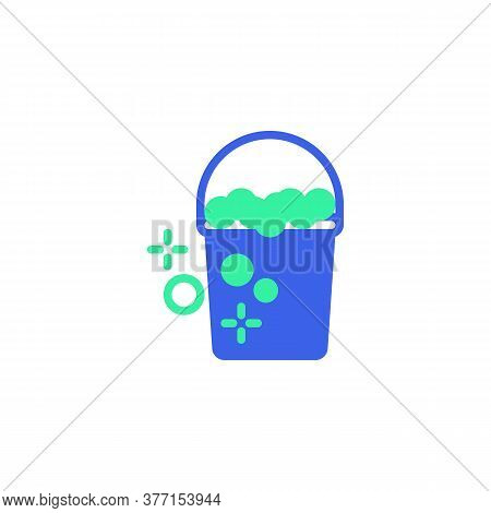 Cleaning Bucket Icon Vector, Filled Flat Sign, Bucket With Foam Bicolor Pictogram, Green And Blue Co