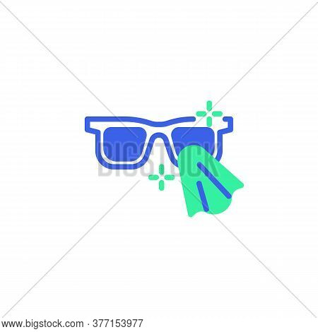 Cleaning Eyeglasses Icon Vector, Filled Flat Sign, Glasses Disinfection Bicolor Pictogram, Green And