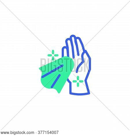 Dry Hand With A Napkin Icon Vector, Filled Flat Sign, Cleaning Hands With Antibacterial Wipes Bicolo