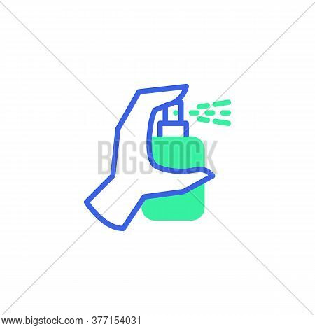 Hand Disinfection, Alcohol Spray Icon Vector, Filled Flat Sign, Bicolor Pictogram, Green And Blue Co