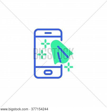 Cleaning Mobile Phone Icon Vector, Filled Flat Sign, Cell Phone Clean Bicolor Pictogram, Green And B