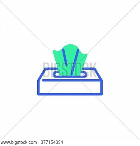 Tissue Box Icon Vector, Filled Flat Sign, Paper Napkins Box Bicolor Pictogram, Green And Blue Colors
