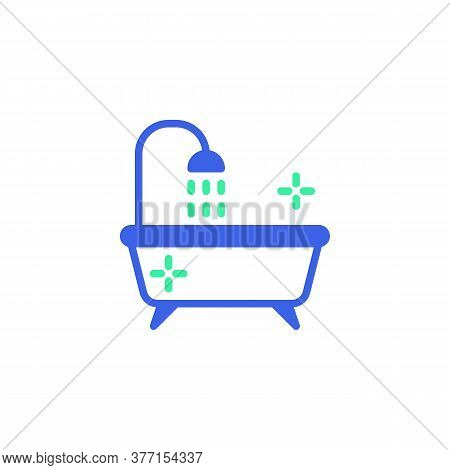 Bathtub Shower Icon Vector, Filled Flat Sign, Bathroom Bath Bicolor Pictogram, Green And Blue Colors