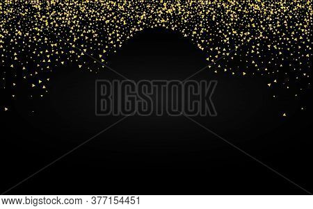 Gold Shards Falling Black Background. Isolated Sparkle Backdrop. Golden Shard Art Card. Glow Transpa