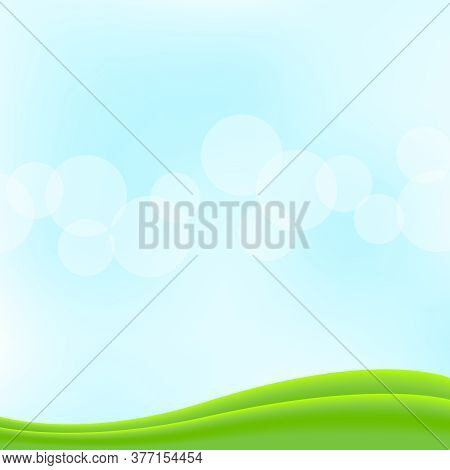Bokeh Soft Blue For Background Banner And Copy Space, Bokeh Bright Blue With Graphic Green Curve Wav