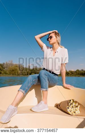 Pretty Amazing Young Woman, Blond Relaxing On A Boat, Wearing Sunglasses, Enjoying Her Vacation, Cam