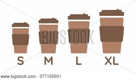 Coffee Cup Sizes Set S M L Xl. Different Size - Small, Medium, Large And Extra Large. Isolated Illus