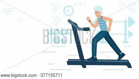 Old Man Running On Motorized Treadmill. Sportive Grandfather