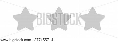 Grey 3 Stars Icon Cute Isolated On White, Star Shape Grey, Illustration Simple Star Rating Symbol, C