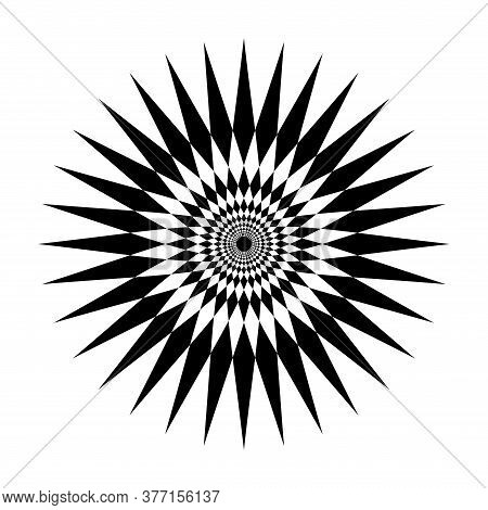 Star Shape Swirl Isolated On White Background, Radius Art Line Star Swirl And Cycle Wave, Optical Li