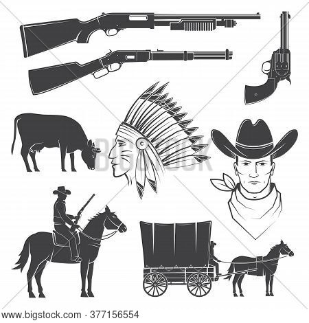 Set Of Cowboy Club Icon.vector Illustration. Concept For Shirt, Logo, Print, Stamp, Tee With Cowboy