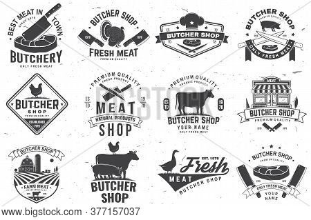 Set Of Butcher Shop Badge Or Label With Turkey, Cow, Beef, Chicken. Vector Illustration. Vintage Typ