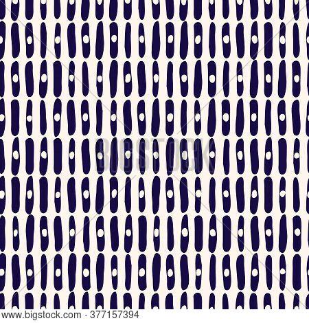 Hand-drawn Geo Organic White And Indigo Lines, Dots, Stripes Vector Seamless Pattern. Modern Colorfu