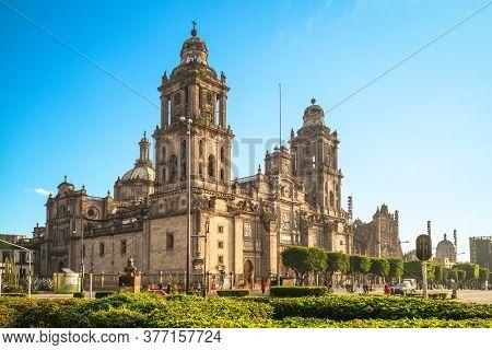 Facade Of Mexico City Metropolitan Cathedral In Mexico