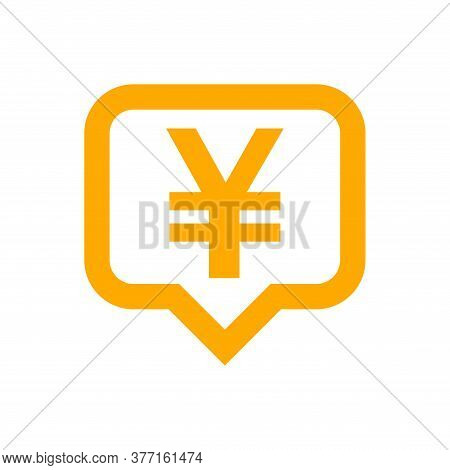 Yen Currency Symbol In Speech Bubble For Icon, Orange Yen Money Symbol Isolated On White, Currency Y