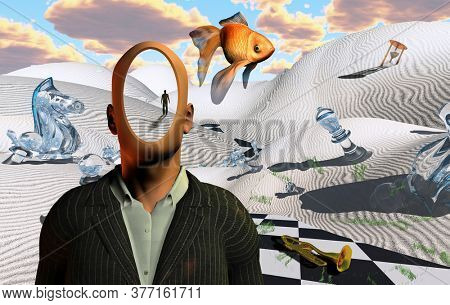 Surreal desert with chess figures, hourglass and trumpet. Faceless man in suit. Figure of man in a distance. Golden fish. 3D rendering