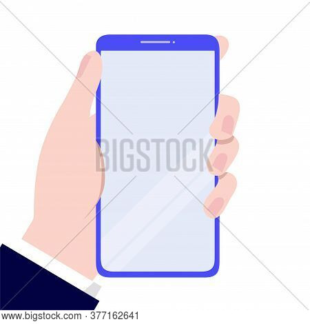 Hand Holding A Smartphone.mobile Phone In Hand Icon. Mobile Phone Line Icon. Vector, Illustration, E