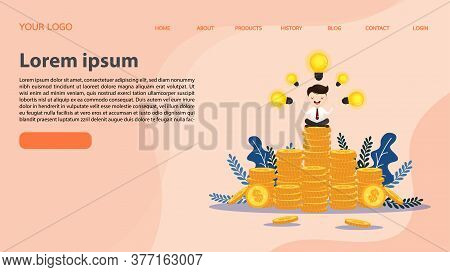 Businessman Sitting In Lotus Position And Meditating On Stacks Of Coins. Looking For New Creative Th