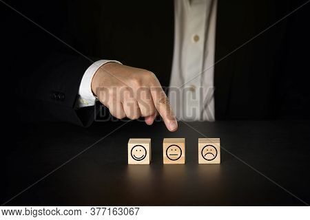 Businessman Giving Rating With Average Icon, Customer Satisfaction Survey Concept
