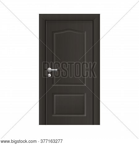Mockup Of Doorway With Closed Door, Realistic Vector Illustration Isolated.