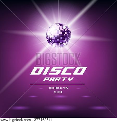 Disco Party Poster Template With Shiny Purple Disco Ball Hanging From Ceiling