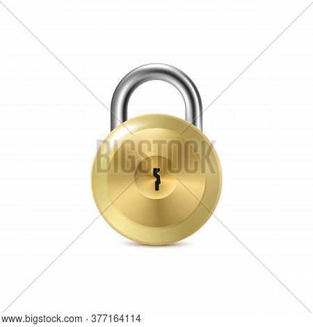 Vector Illustration Isolated On White Background. Round Metal Padlock Or Doorway Lock