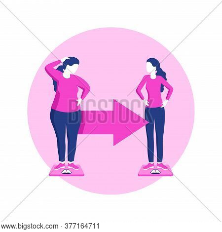 Weight Loss Before And After - Cartoon Fat And Thin Woman Comparsion - Vector Fitness Or Diet Progra