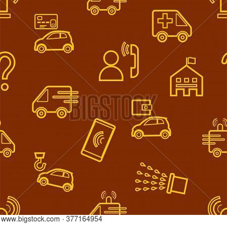 Emergency Services, Seamless Pattern, Contour Drawing, Brown, Color, Flat, Vector. Thin Contour Draw