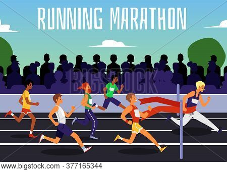 Running Marathon Web Banner With People Characters Flat Vector Illustration.