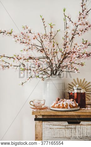 Rose Almond Bundt Cake And Tea Under Almond Blooming Branches