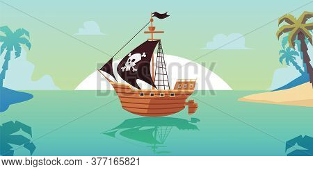 Pirate Sailboat Ship In Tropical Seascape, Flat Cartoon Vector Illustration.