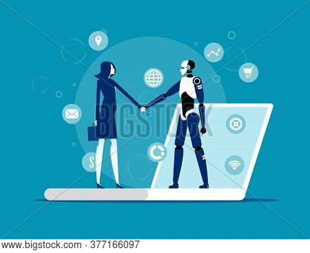 Human Interactive Tech Interaction. Artificial Intelligence Technology Concept. Flat Cartoon Style D