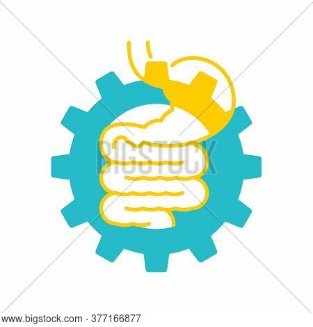 Digestive Laxative System Icon - Human Stomach Associated With Gear Box Mechanicm - For Gastro Medic
