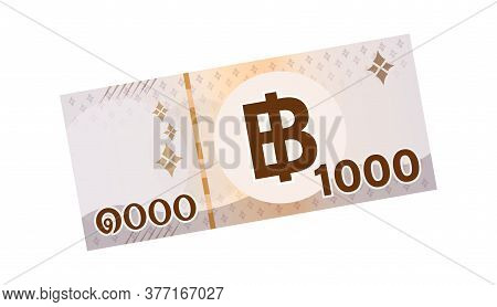 1,000 Baht Thai Banknote Money, Bank Note Money Thb For Business And Finance Concept, Paper Money Is