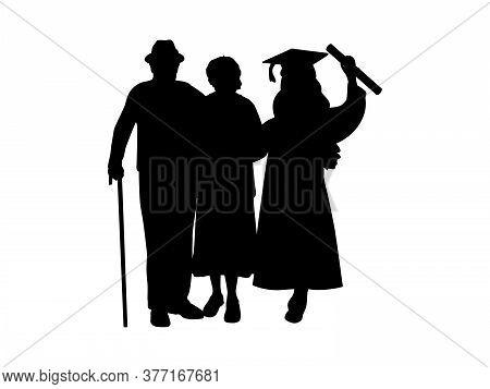 Silhouette Girl Graduate Hugs Grandparents. Illustration Graphics Icon