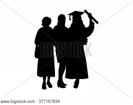 .silhouette Of Graduate Girl With Mom And Grandmother. Illustration Graphics Icon