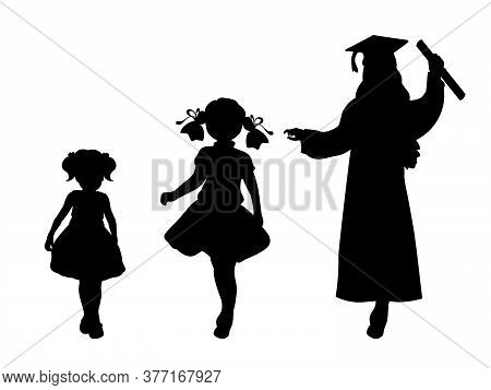 Silhouette Of Graduate Growing Up. Baby Girl Young Woman. Illustration Graphics Icon