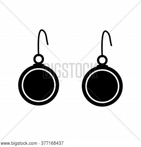 Earrings Icon On White Background. Jewelry Symbol. Earrings Sign. Flat Style.